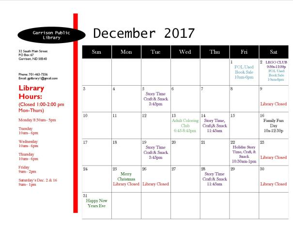 December 2017 EventCalendar