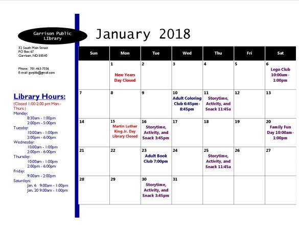 January 2018 Activity Calendar